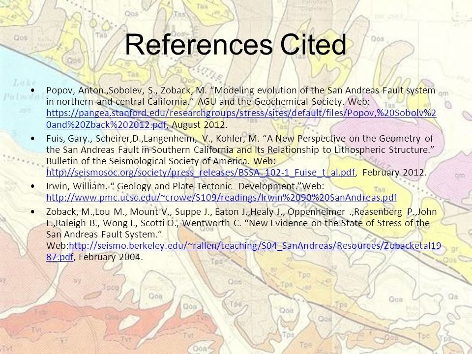 References Cited Popov, Anton.,Sobolev, S., Zoback, M.