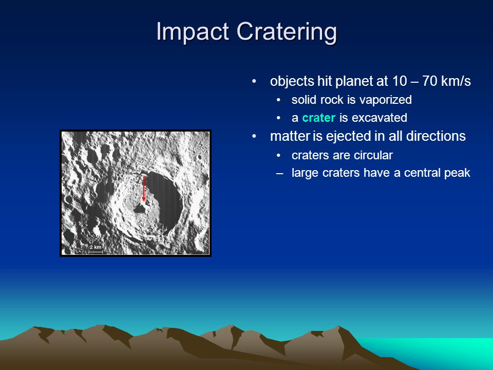 Impact Cratering objects hit planet at 10 – 70 km/s solid rock is vaporized a crater is excavated matter is ejected in all directions craters are circ