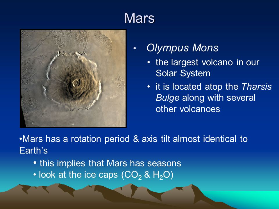 Mars Olympus Mons the largest volcano in our Solar System it is located atop the Tharsis Bulge along with several other volcanoes Mars has a rotation