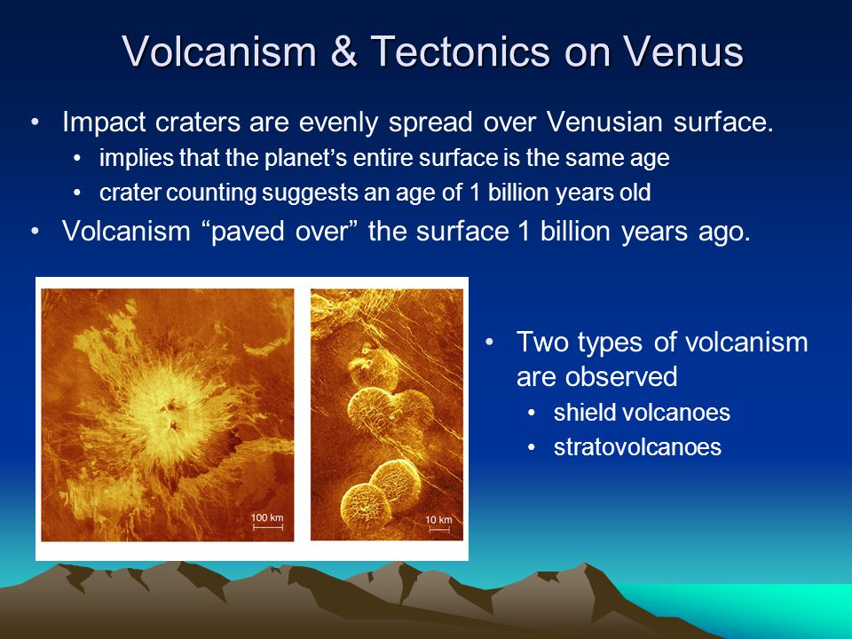 Volcanism & Tectonics on Venus Impact craters are evenly spread over Venusian surface. implies that the planet's entire surface is the same age crater