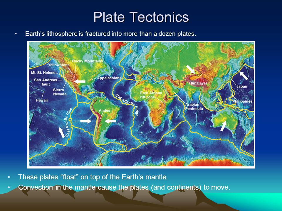 """Plate Tectonics Earth's lithosphere is fractured into more than a dozen plates. These plates """"float"""" on top of the Earth's mantle. Convection in the m"""