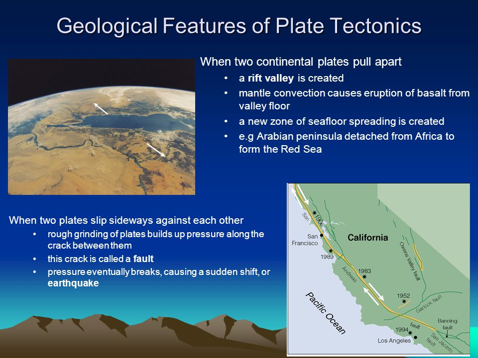 Geological Features of Plate Tectonics When two continental plates pull apart a rift valley is created mantle convection causes eruption of basalt fro