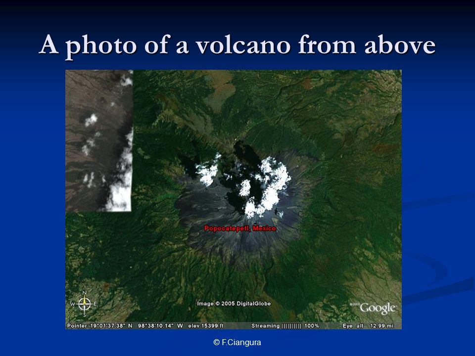 A photo of a volcano from above