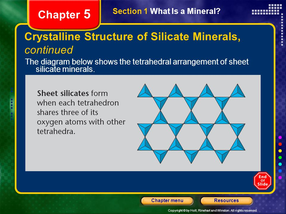 Copyright © by Holt, Rinehart and Winston. All rights reserved. ResourcesChapter menu Section 1 What Is a Mineral? Chapter 5 Crystalline Structure of