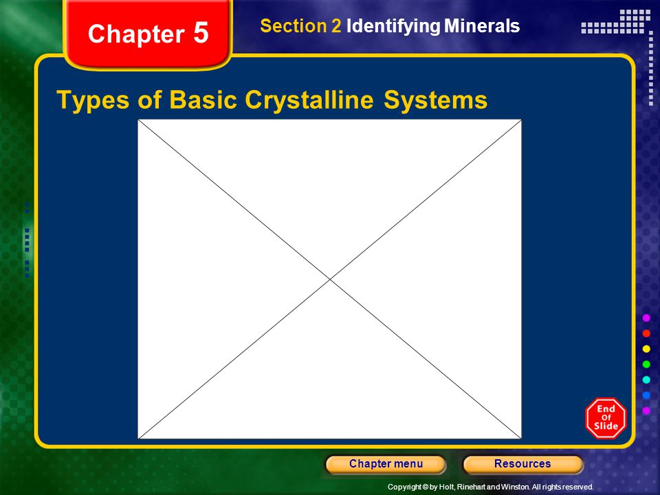 Copyright © by Holt, Rinehart and Winston. All rights reserved. ResourcesChapter menu Chapter 5 Types of Basic Crystalline Systems Section 2 Identifyi