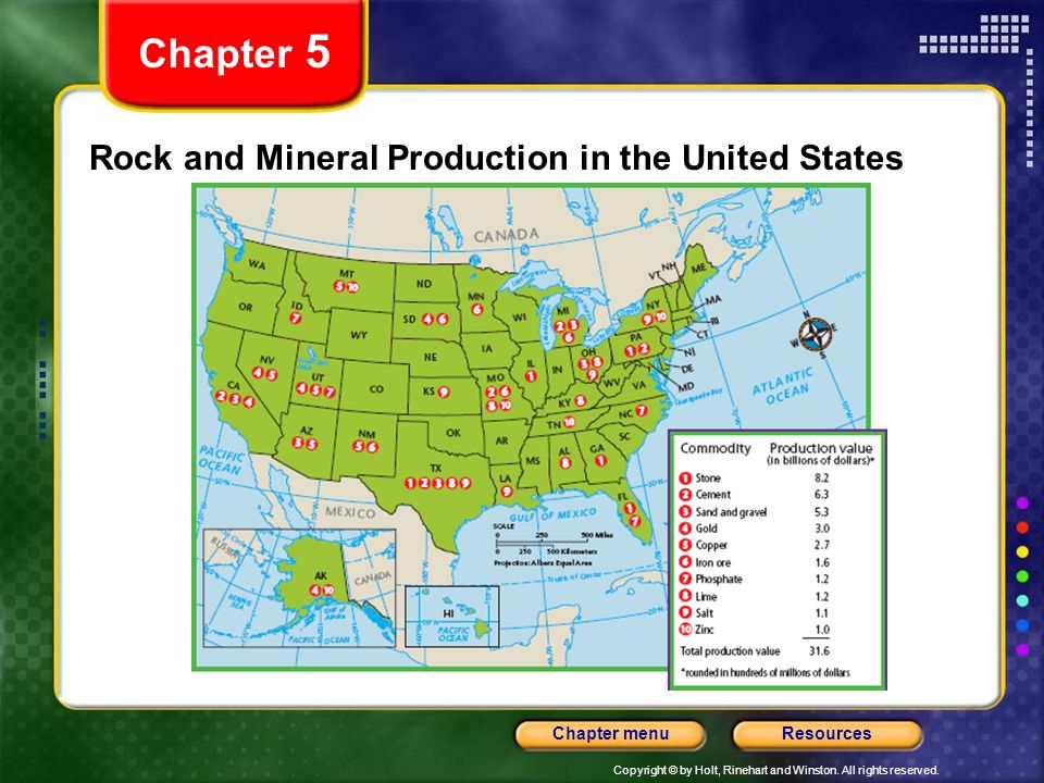 Copyright © by Holt, Rinehart and Winston. All rights reserved. ResourcesChapter menu Rock and Mineral Production in the United States Chapter 5