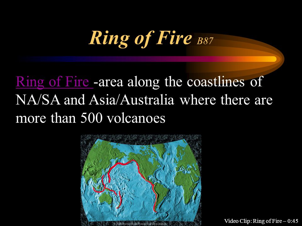 Ring of Fire B87 Video Clip: Ring of Fire – 0:45 Ring of Fire Ring of Fire -area along the coastlines of NA/SA and Asia/Australia where there are more