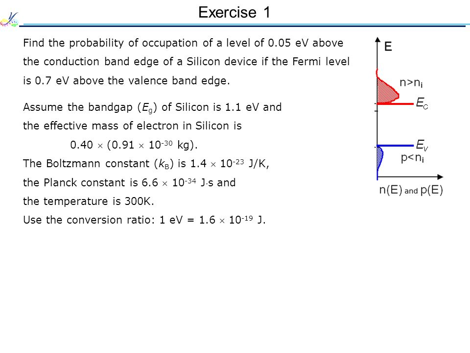 Exercise 1 Find the probability of occupation of a level of 0.05 eV above the conduction band edge of a Silicon device if the Fermi level is 0.7 eV above the valence band edge.
