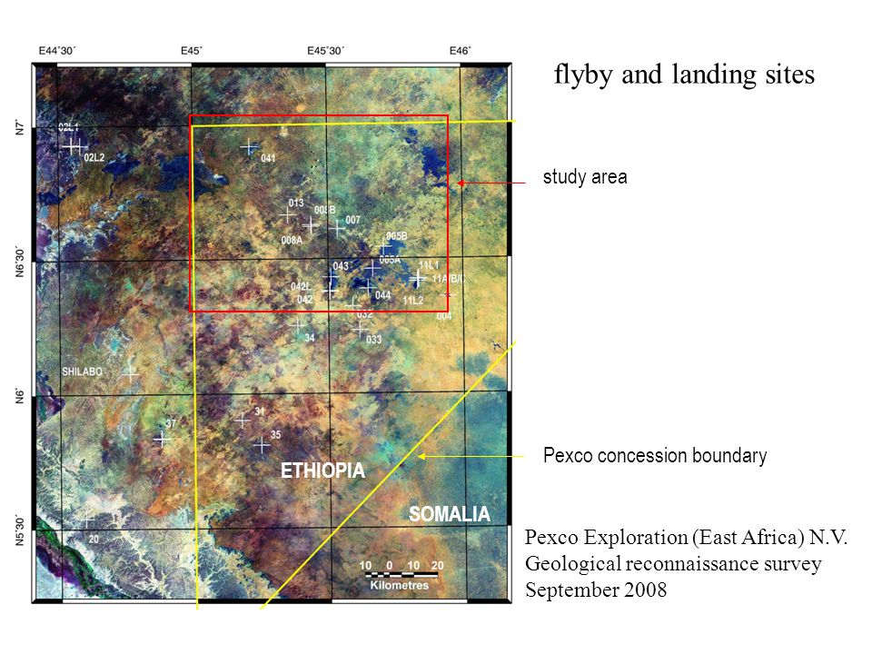 flyby and landing sites Pexco Exploration (East Africa) N.V.