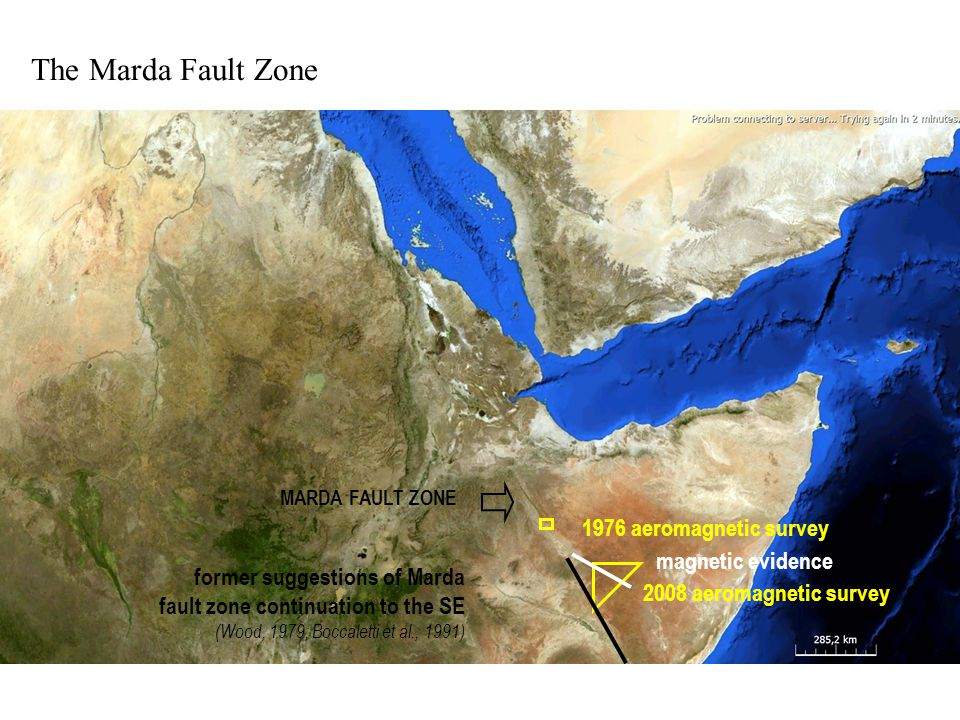 The Marda Fault Zone 1976 aeromagnetic survey 2008 aeromagnetic survey MARDA FAULT ZONE former suggestions of Marda fault zone continuation to the SE (Wood, 1979; Boccaletti et al., 1991) magnetic evidence