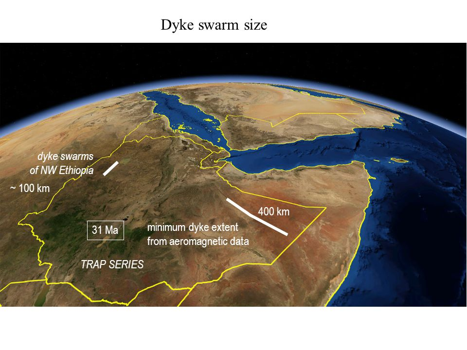 Dyke swarm size minimum dyke extent from aeromagnetic data 400 km 31 Ma dyke swarms of NW Ethiopia TRAP SERIES ~ 100 km