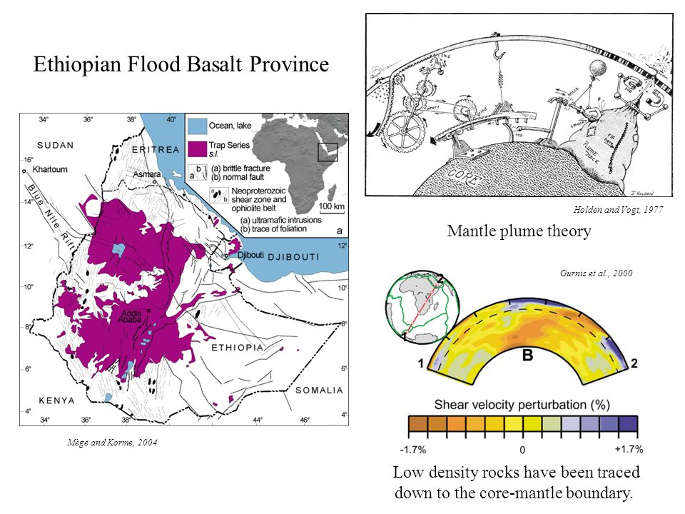 Ethiopian Flood Basalt Province Mège and Korme, 2004 Low density rocks have been traced down to the core-mantle boundary.