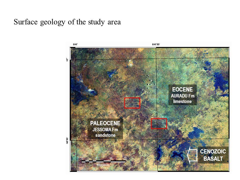 Surface geology of the study area PALEOCENE JESSOMA Fm sandstone EOCENE AURADU Fm limestone CENOZOIC BASALT