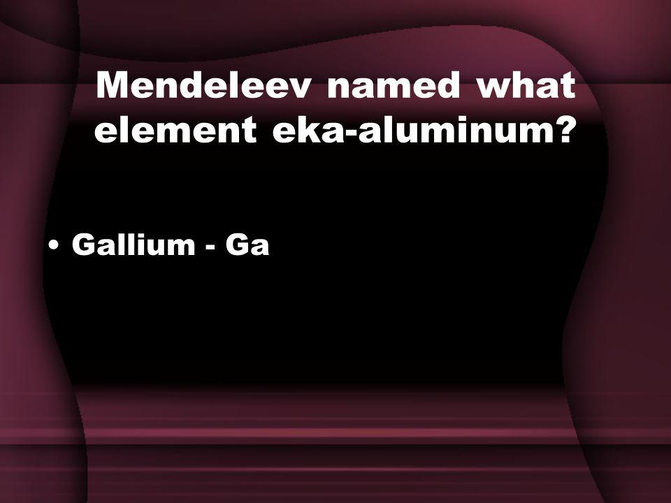 Mendeleev named what element eka-aluminum Gallium - Ga