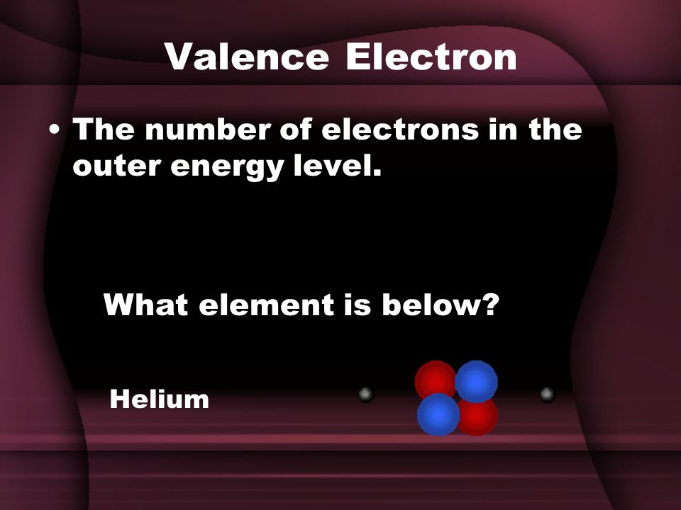 Valence Electron The number of electrons in the outer energy level. What element is below Helium