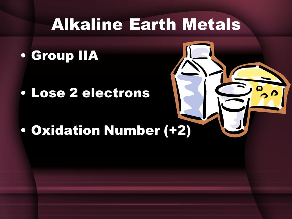 Alkaline Earth Metals Group IIA Lose 2 electrons Oxidation Number (+2)
