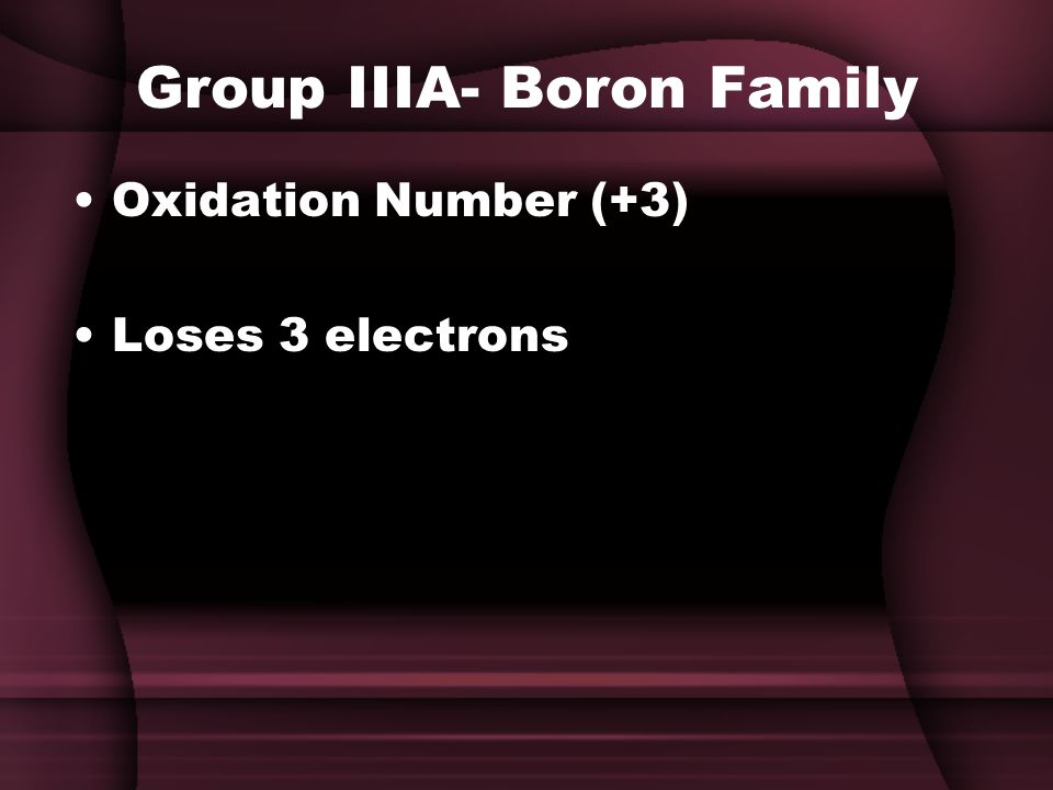 Group IIIA- Boron Family Oxidation Number (+3) Loses 3 electrons