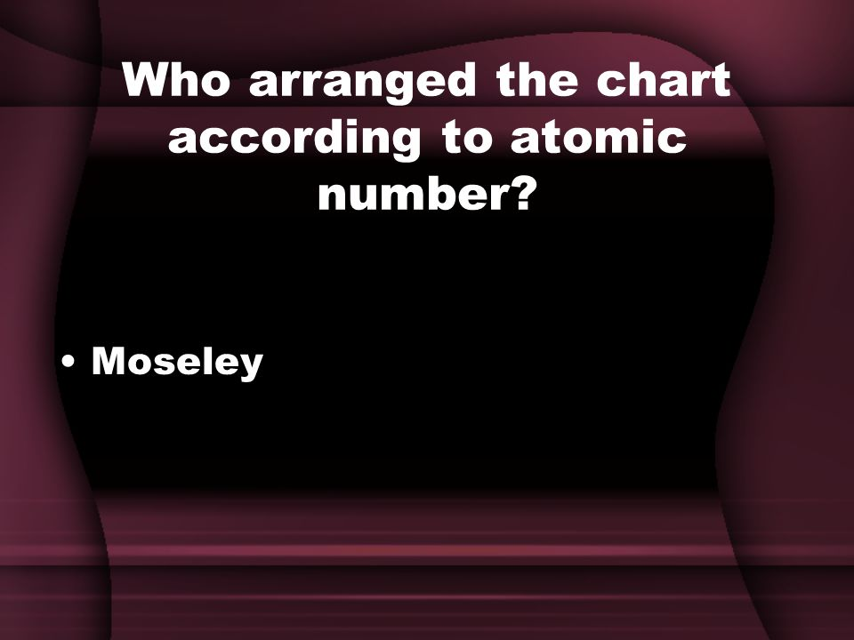Who arranged the chart according to atomic number Moseley