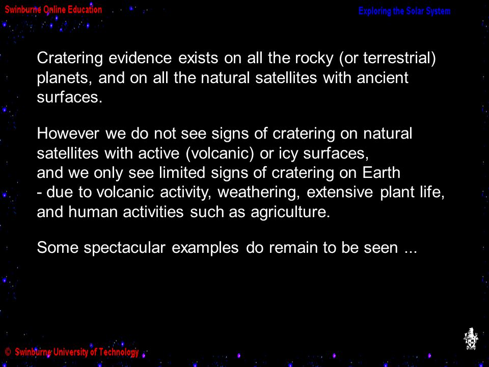 Cratering evidence exists on all the rocky (or terrestrial) planets, and on all the natural satellites with ancient surfaces.