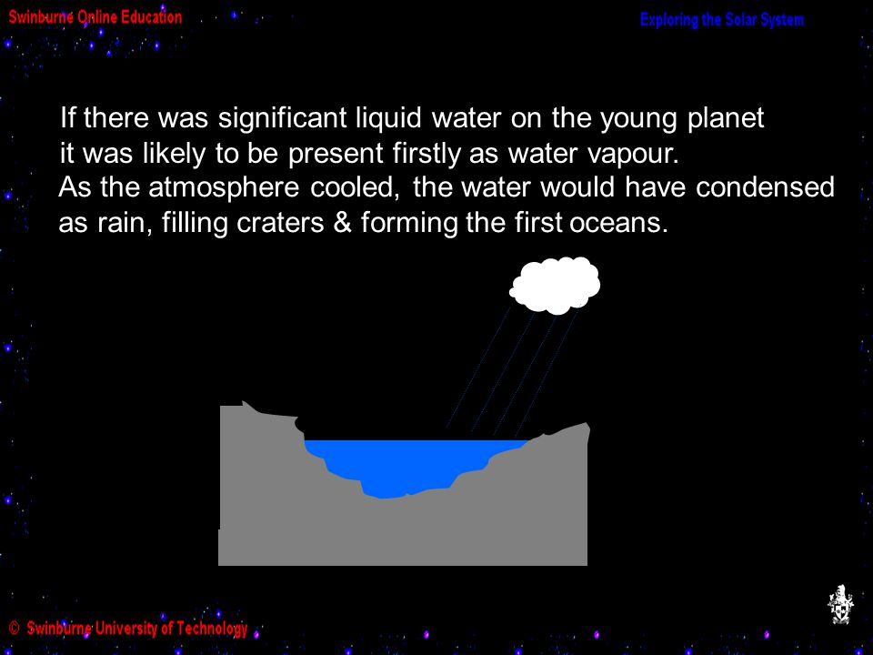 If there was significant liquid water on the young planet it was likely to be present firstly as water vapour.