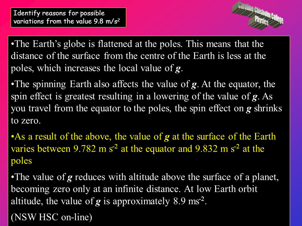 The value of acceleration due to gravity at the surface of the Earth varies from the usually accepted value of 9.8 m s -2, due to a number of factors: The Earth's lithosphere varies in structure, thickness and density.