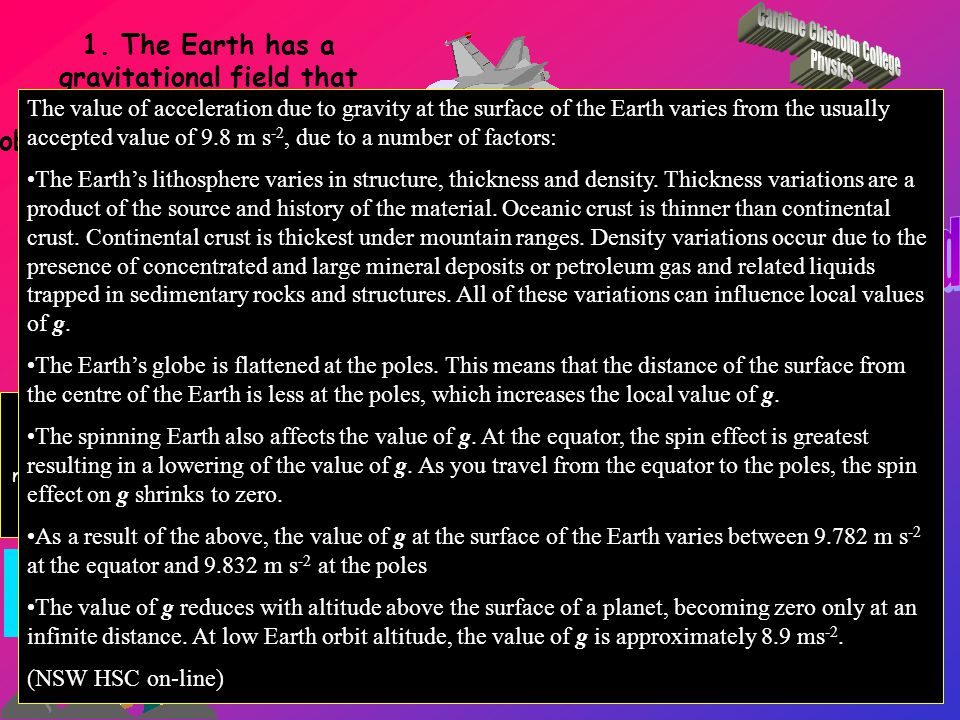Identify reasons for possible variations from the value 9.8 m/s 2 The Earth's globe is flattened at the poles.