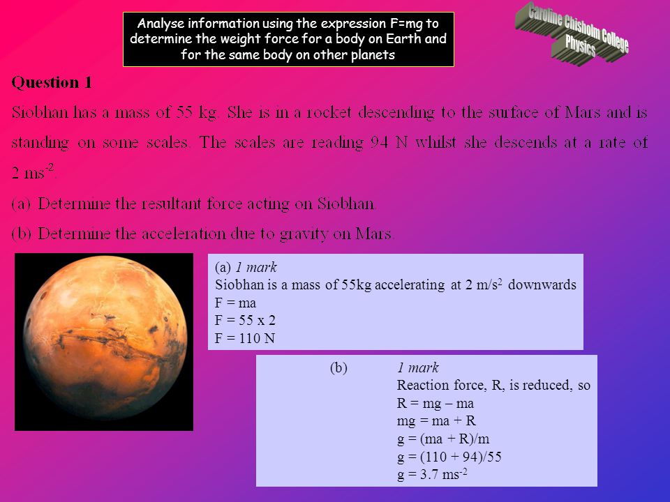 Gather secondary information to predict the value of acceleration due to gravity on other planets 1.