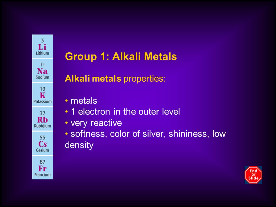Group 1: Alkali Metals Alkali metals properties: metals 1 electron in the outer level very reactive softness, color of silver, shininess, low density