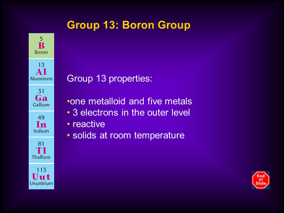 Group 13: Boron Group Group 13 properties: one metalloid and five metals 3 electrons in the outer level reactive solids at room temperature