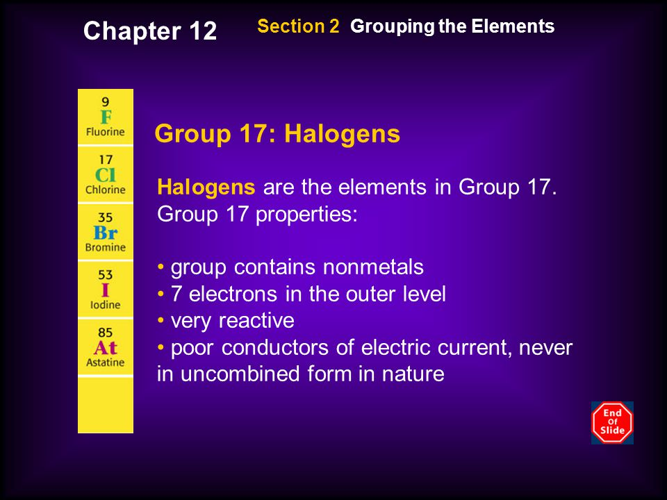 Section 2 Grouping the Elements Group 17: Halogens Halogens are the elements in Group 17.