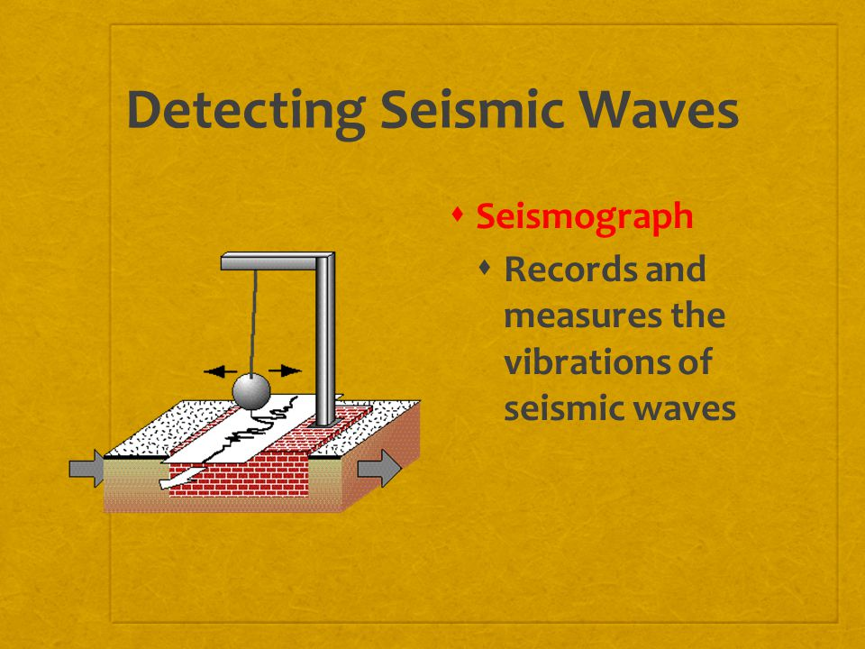 Detecting Seismic Waves  Seismograph  Records and measures the vibrations of seismic waves