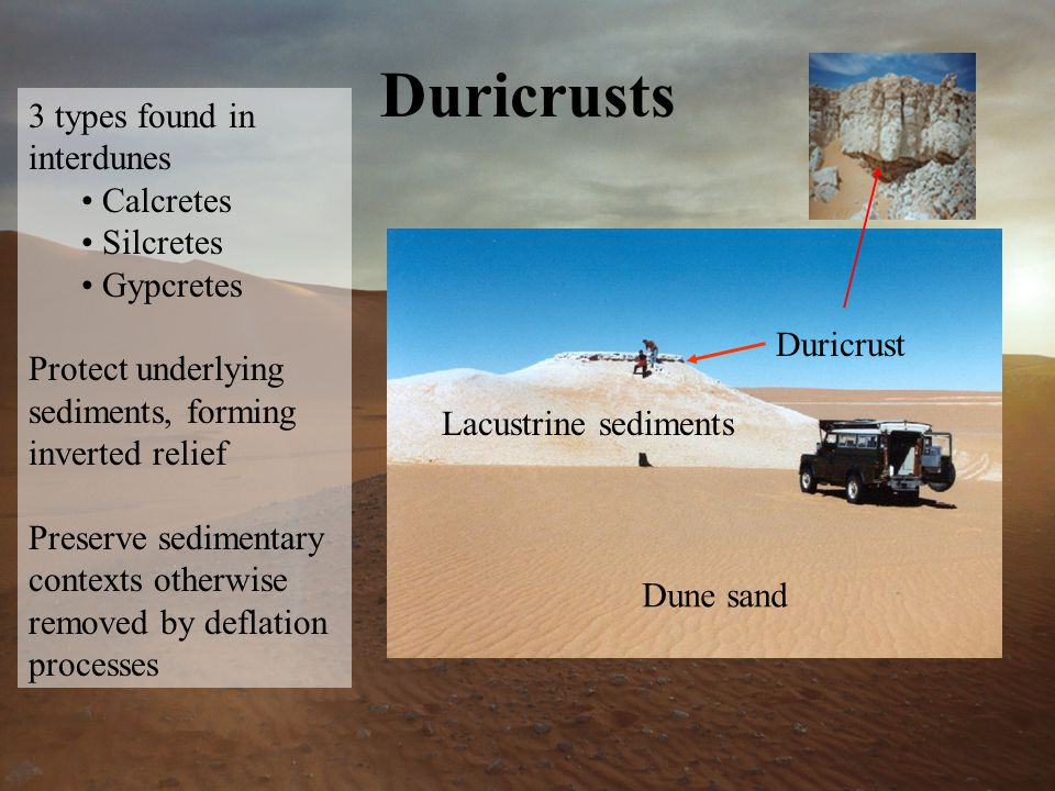 Duricrusts 3 types found in interdunes Calcretes Silcretes Gypcretes Protect underlying sediments, forming inverted relief Preserve sedimentary contexts otherwise removed by deflation processes Duricrust Lacustrine sediments Dune sand