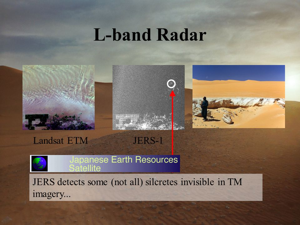 L-band Radar Landsat ETMJERS-1 JERS detects some (not all) silcretes invisible in TM imagery...