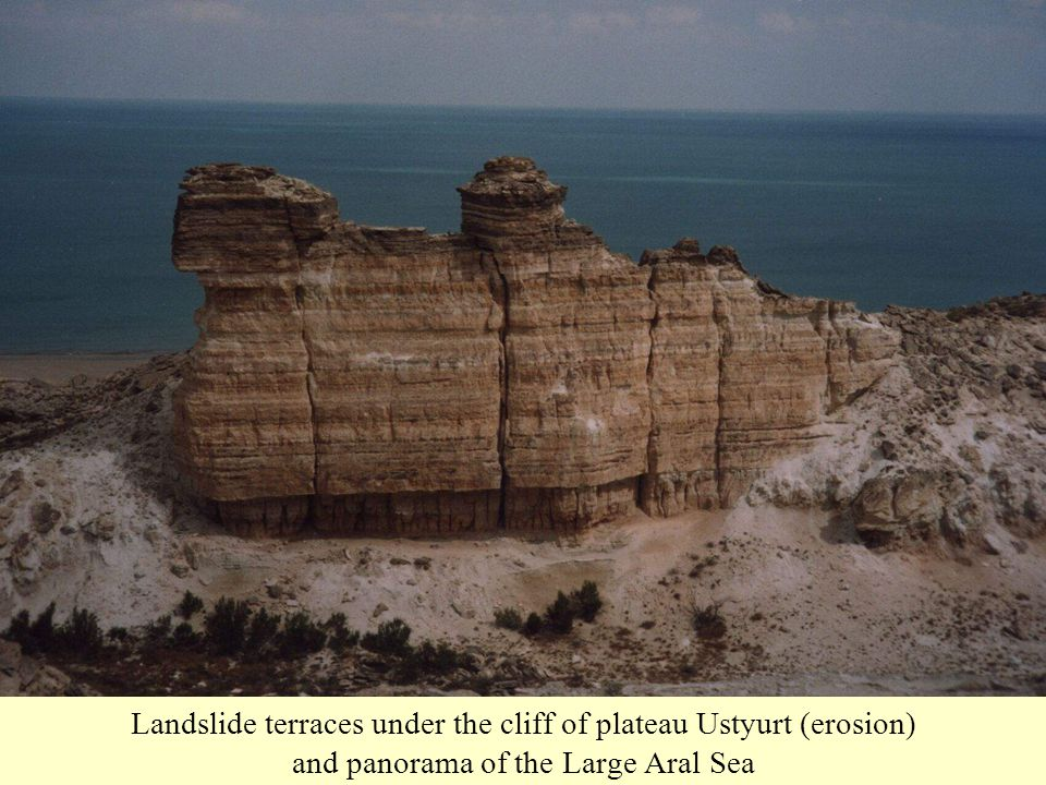 Landslide terraces under the cliff of plateau Ustyurt (erosion) and panorama of the Large Aral Sea