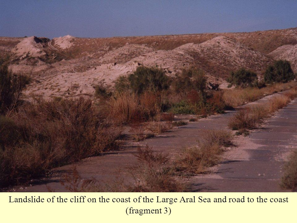 Landslide of the cliff on the coast of the Large Aral Sea and road to the coast (fragment 3)