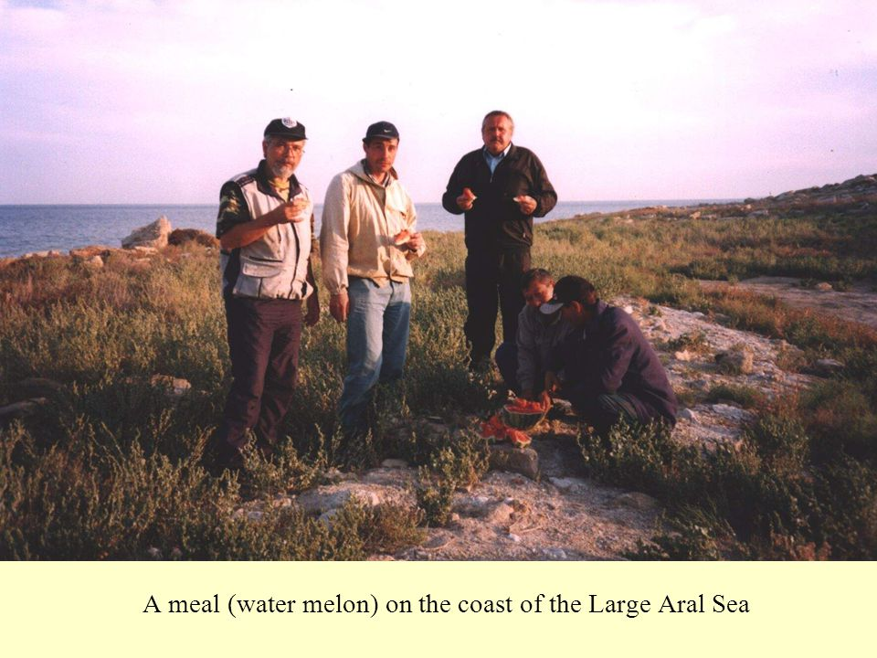 A meal (water melon) on the coast of the Large Aral Sea