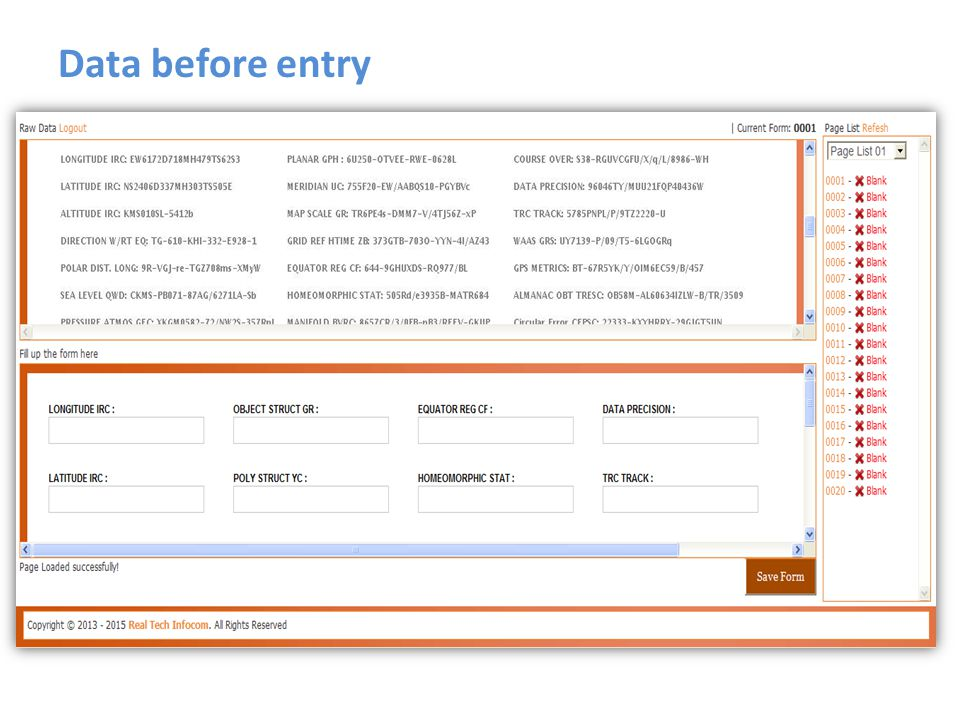 Data before entry