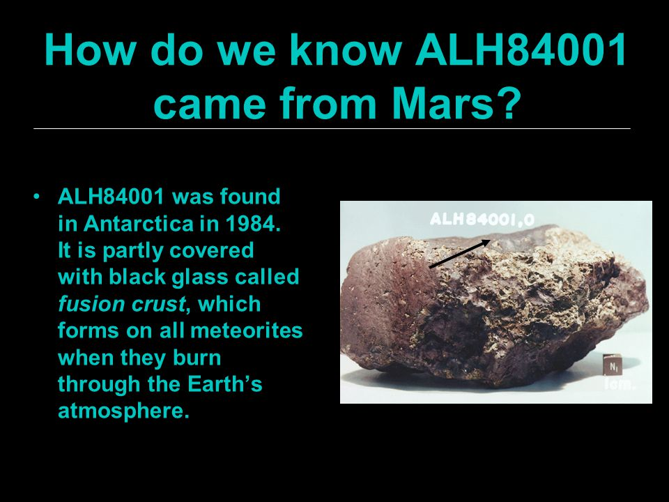 How do we know ALH84001 came from Mars. ALH84001 was found in Antarctica in 1984.