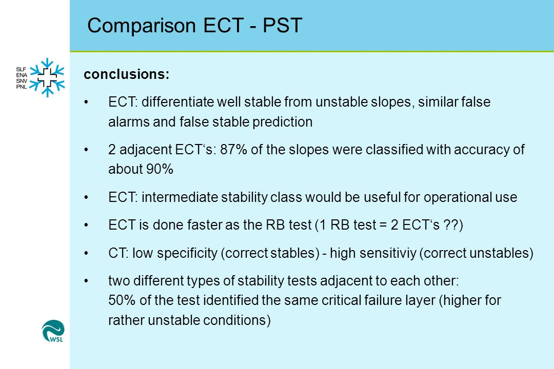 Comparison ECT - PST conclusions: ECT: differentiate well stable from unstable slopes, similar false alarms and false stable prediction 2 adjacent ECT's: 87% of the slopes were classified with accuracy of about 90% ECT: intermediate stability class would be useful for operational use ECT is done faster as the RB test (1 RB test = 2 ECT's ??) CT: low specificity (correct stables) - high sensitiviy (correct unstables) two different types of stability tests adjacent to each other: 50% of the test identified the same critical failure layer (higher for rather unstable conditions)
