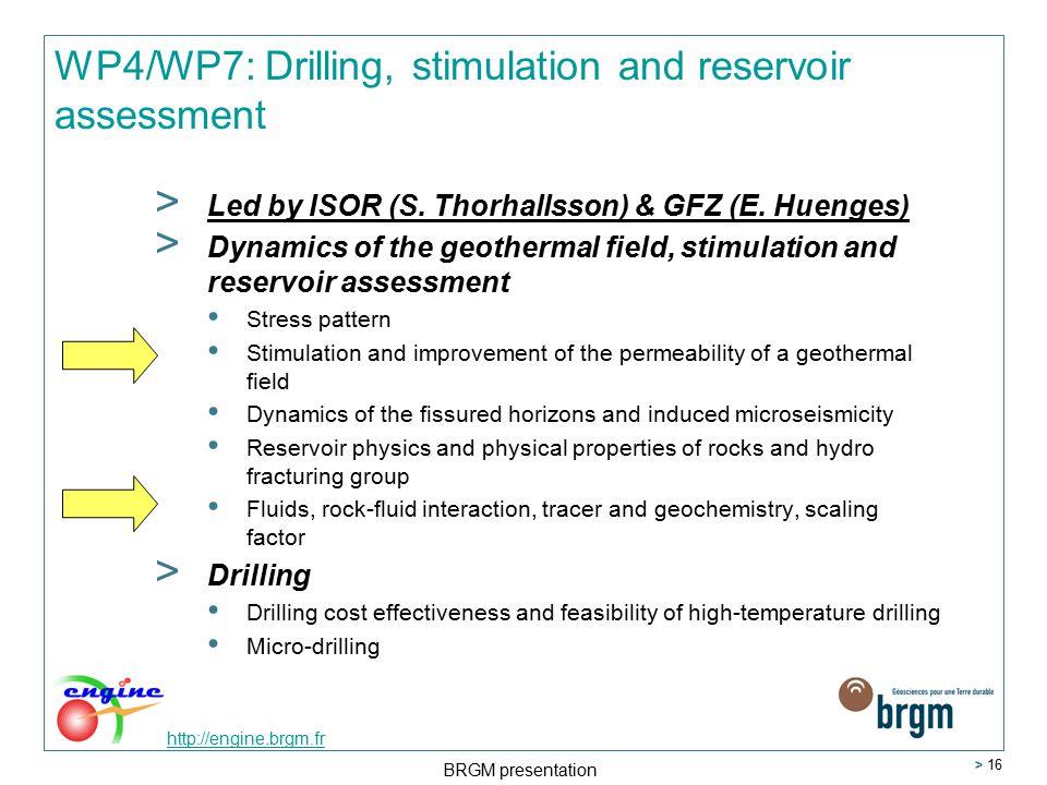 http://engine.brgm.fr BRGM presentation > 16 WP4/WP7: Drilling, stimulation and reservoir assessment > Led by ISOR (S.