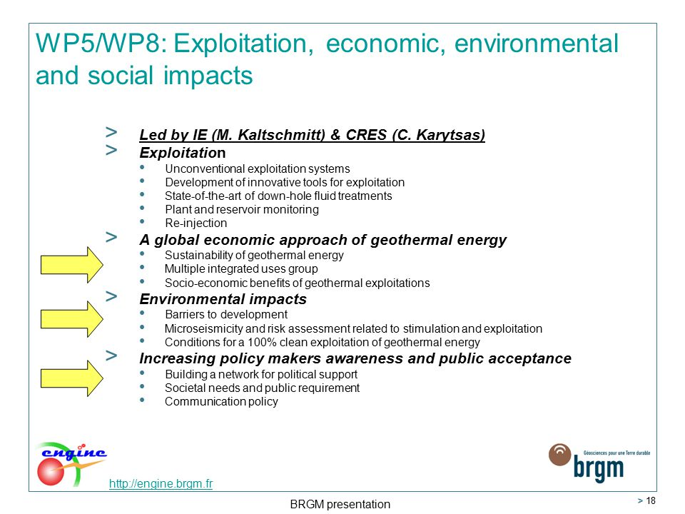 http://engine.brgm.fr BRGM presentation > 18 WP5/WP8: Exploitation, economic, environmental and social impacts > Led by IE (M.