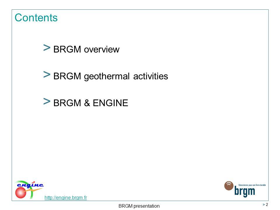 BRGM presentation > 2 Contents > BRGM overview > BRGM geothermal activities > BRGM & ENGINE