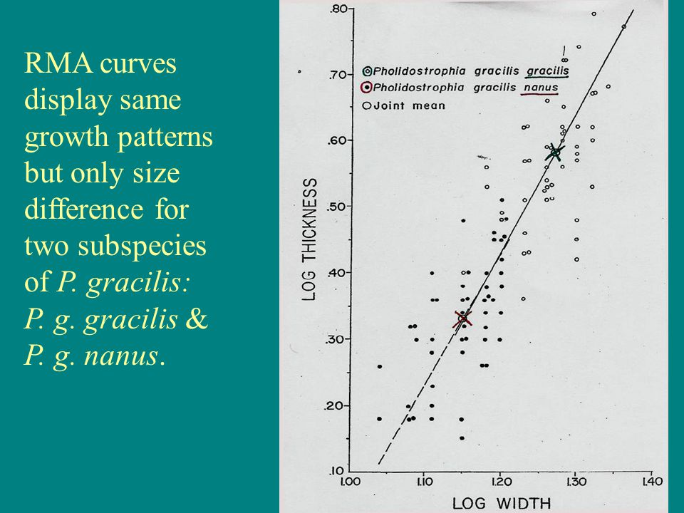 RMA curves display same growth patterns but only size difference for two subspecies of P. gracilis: P. g. gracilis & P. g. nanus.