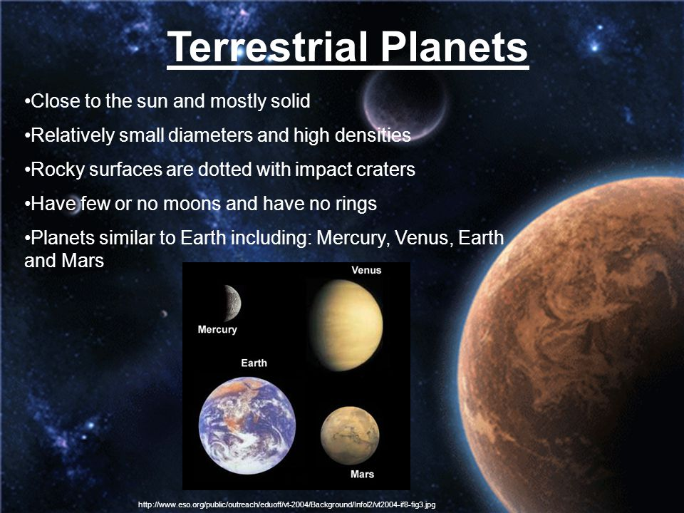 Terrestrial Planets Close to the sun and mostly solid Relatively small diameters and high densities Rocky surfaces are dotted with impact craters Have