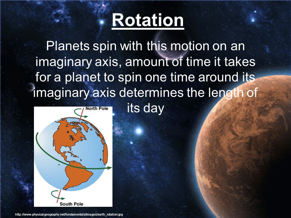 Rotation Planets spin with this motion on an imaginary axis, amount of time it takes for a planet to spin one time around its imaginary axis determine