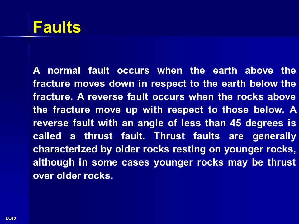EQ19 A normal fault occurs when the earth above the fracture moves down in respect to the earth below the fracture.