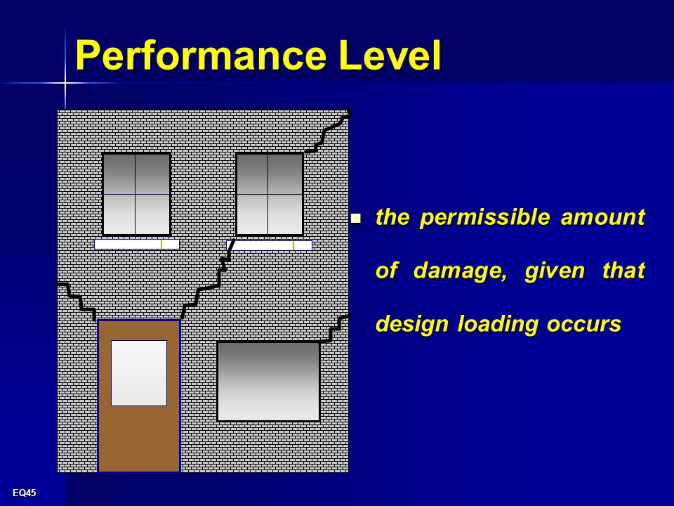 EQ45 Performance Level the permissible amount of damage, given that design loading occurs the permissible amount of damage, given that design loading occurs