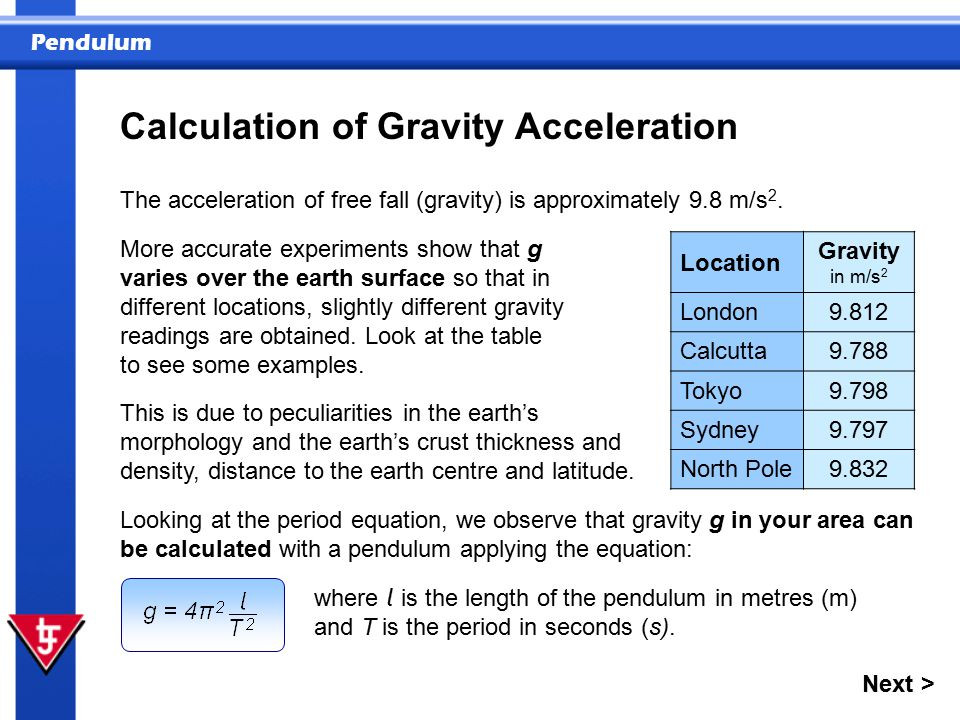Pendulum Calculation of Gravity Acceleration The acceleration of free fall (gravity) is approximately 9.8 m/s 2.