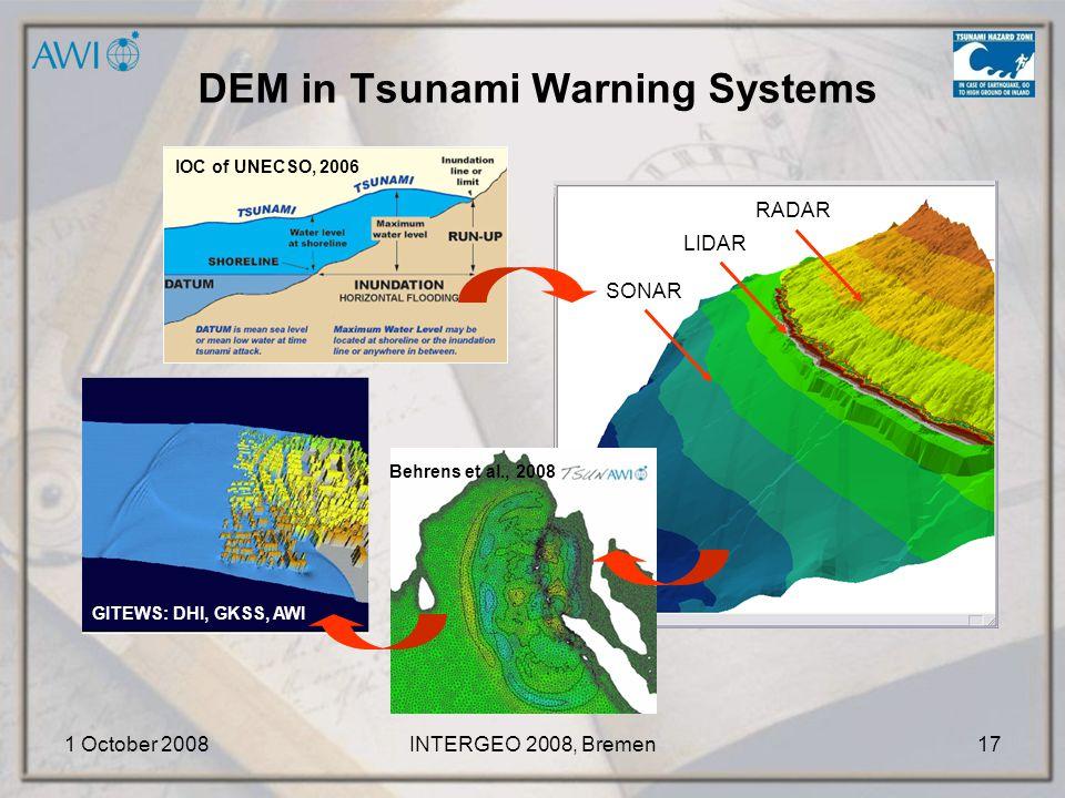 1 October 2008INTERGEO 2008, Bremen17 GITEWS: DHI, GKSS, AWI IOC of UNECSO, 2006 DEM in Tsunami Warning Systems RADAR LIDAR SONAR Behrens et al., 2008