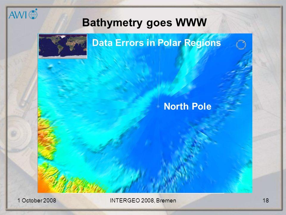 1 October 2008INTERGEO 2008, Bremen18 Bathymetry goes WWW North Pole Data Errors in Polar Regions